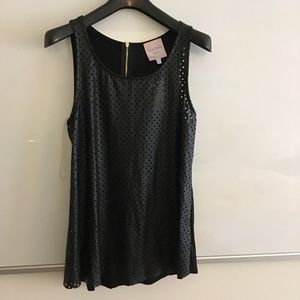 Romeo Juliet Couture black faux leather top NWT